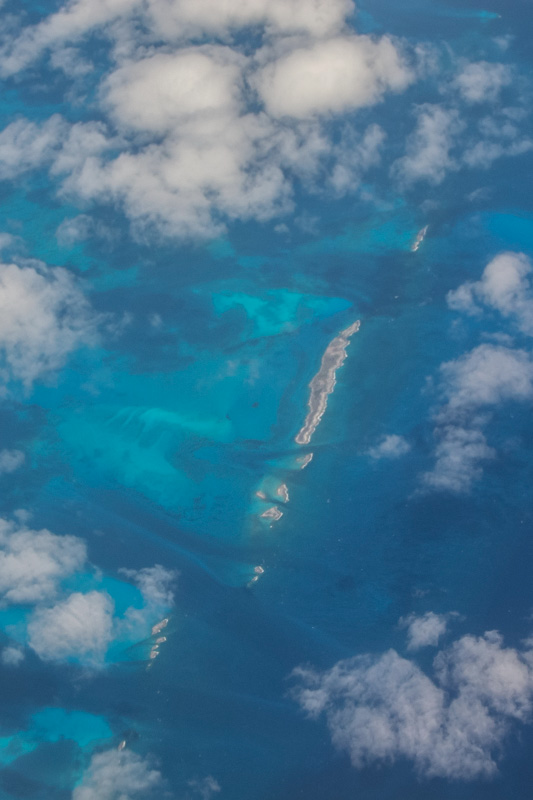 Flying over the Caribbean