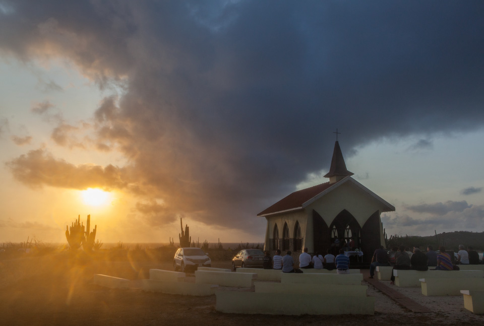 Sunrise behind Alto Vista Chapel, Aruba