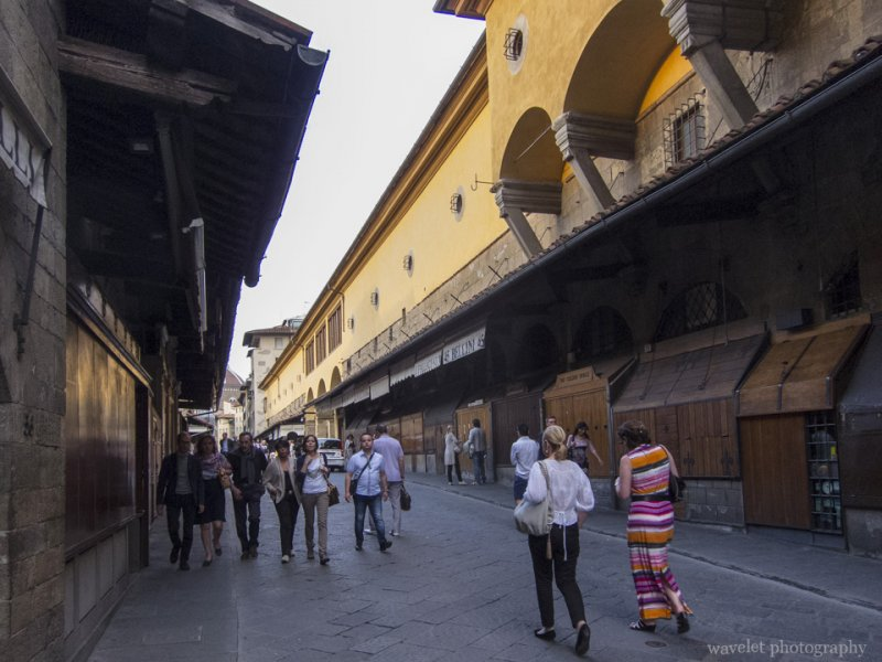 Shops at Ponte Vecchio were closed in late afternoon, Florence