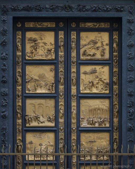 The bronze door of the Baptistry, Florence