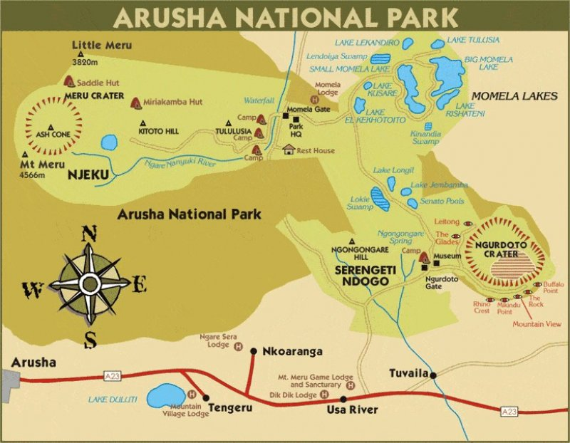 Arusha National Park Map