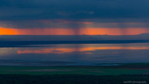 Sunrise and thunderstorm over Lake Manyara