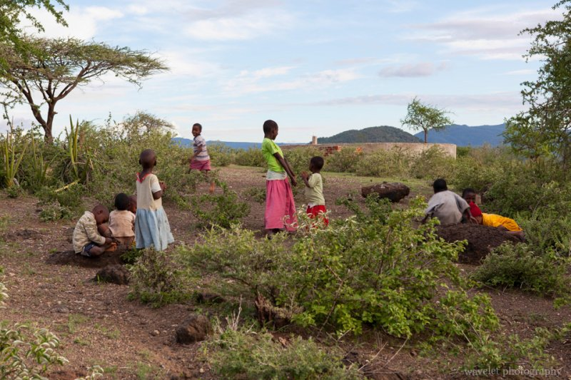 Kids from the village followed us to the hill top, near Lake Eyasi
