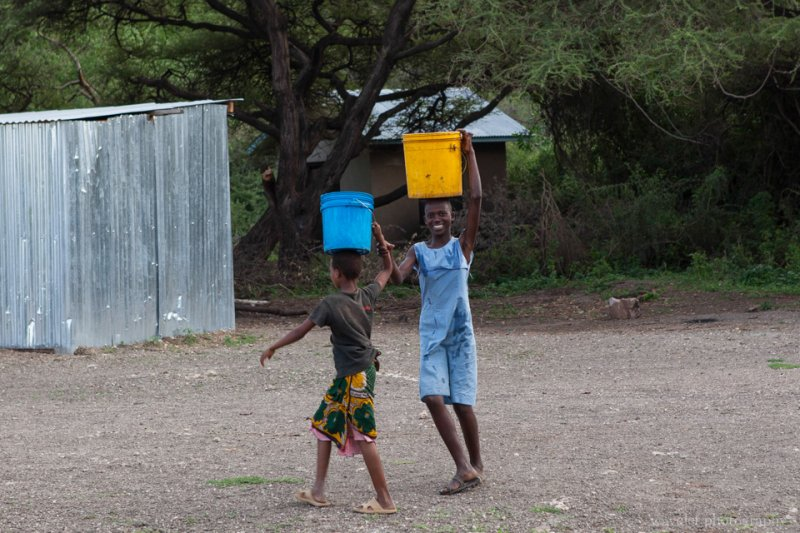 Villagers carrying water from a pond by the village, near Lake Eyasi