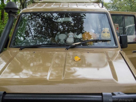 Stuffed animals in a safari jeep outside of Ngorongoro.Conservation Area.
