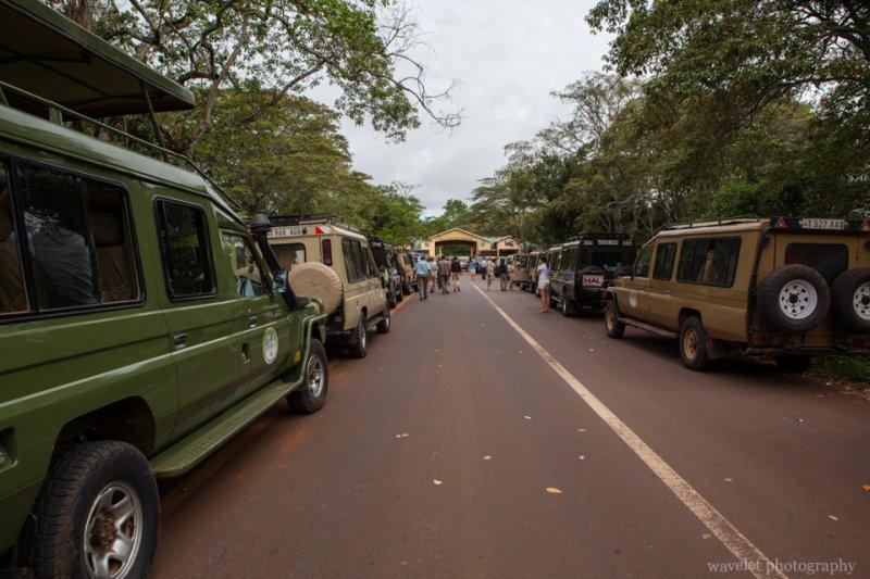 Safari jeeps waiting to enter Ngorongoro.Conservation Area.