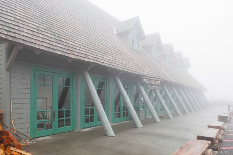 Paradise Inn front door in a gloomy day, Mt. Rainier