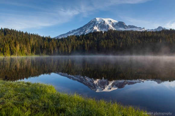 Sunrise over Reflection Lakes, Mt. Rainier