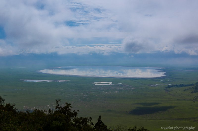 Overlook Lake Makat in Ngorongoro Crater from the north entrance