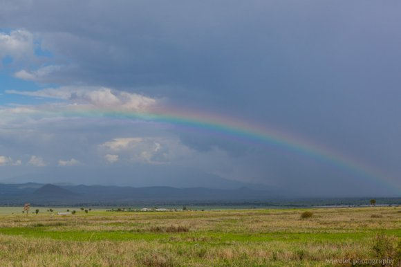 Rainbow over North Tanzania plains, near Arusha