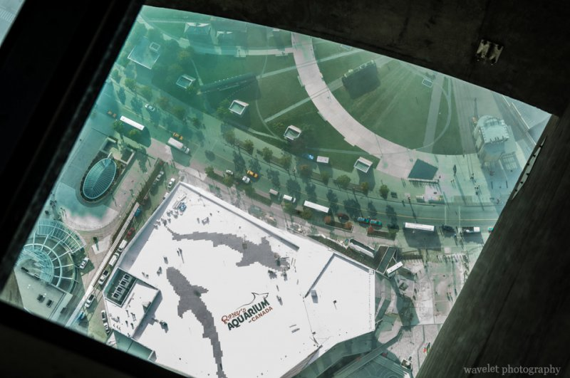Viewing through the Glass Floor, CN Tower, Toronto