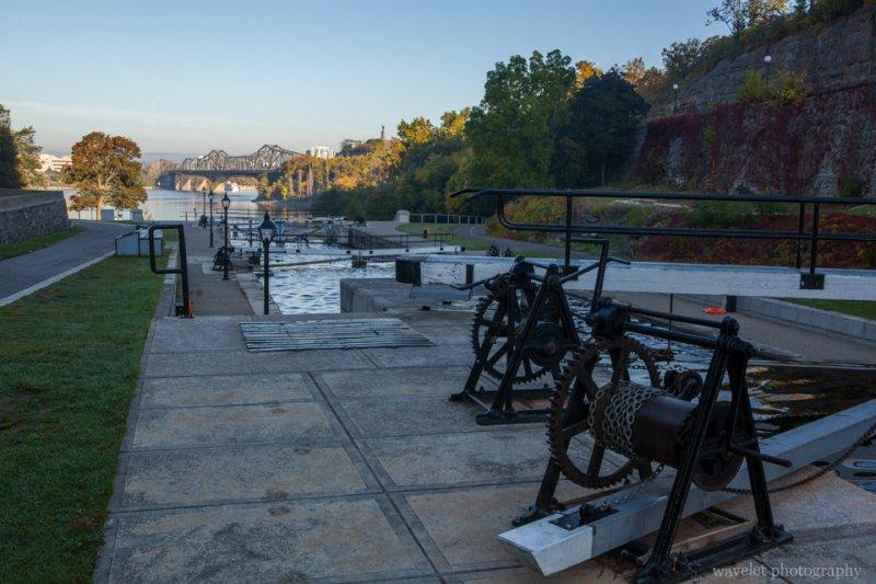 Locks on Rideau Canal and the Alexandra Bridge over the Ottawa River, Ottawa