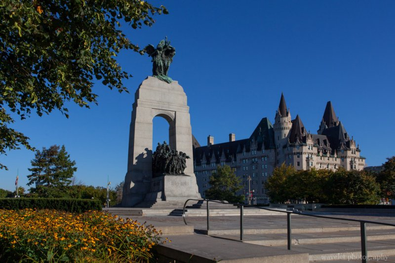 National War Memorial and Fairmont Chateau Laurier in background, Ottawa