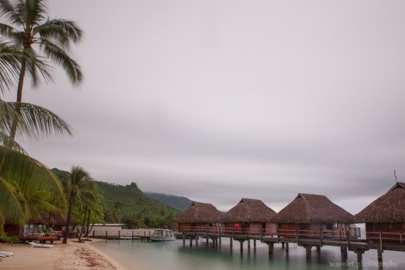 Overwater bungalow in the heavy cloudy day, Moorea Pearl Resort