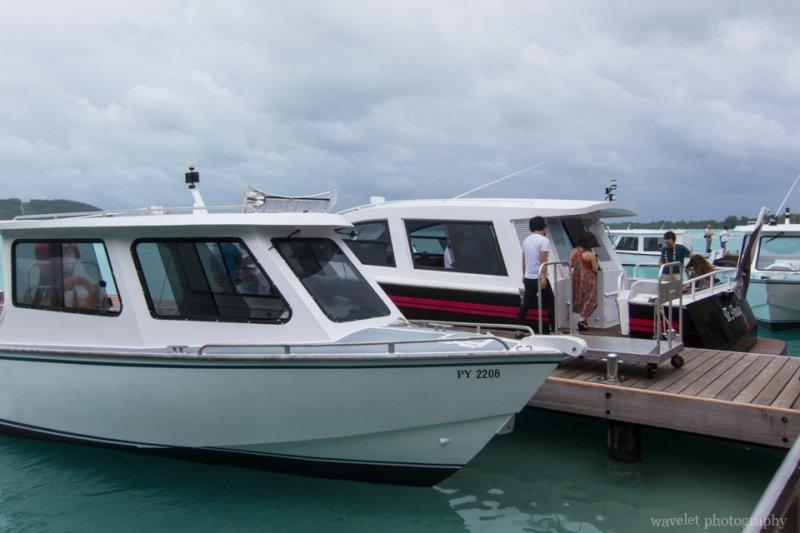Boats welcome guests at Bora Bora Airport