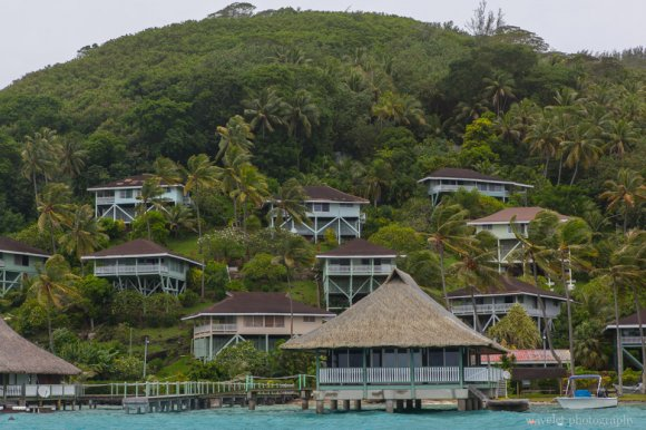 Old hotels on Bora Bora's main island, Shark and Ray feeding tour, Bora Bora