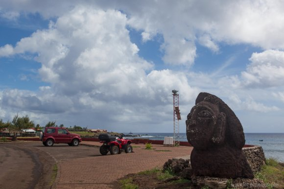 A moai next to restaurant Haka Honu, Easter Island