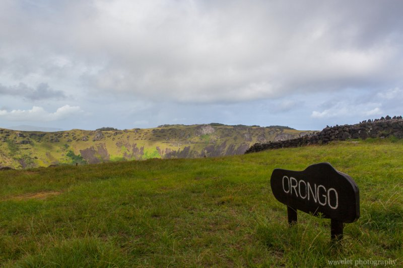 The orongo sign next to the crater lake on Rano Kau, Easter Island