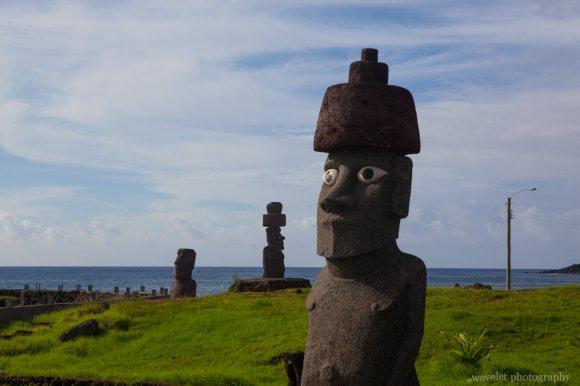 Moais at the roadside near Hanga Roa, Easter Island