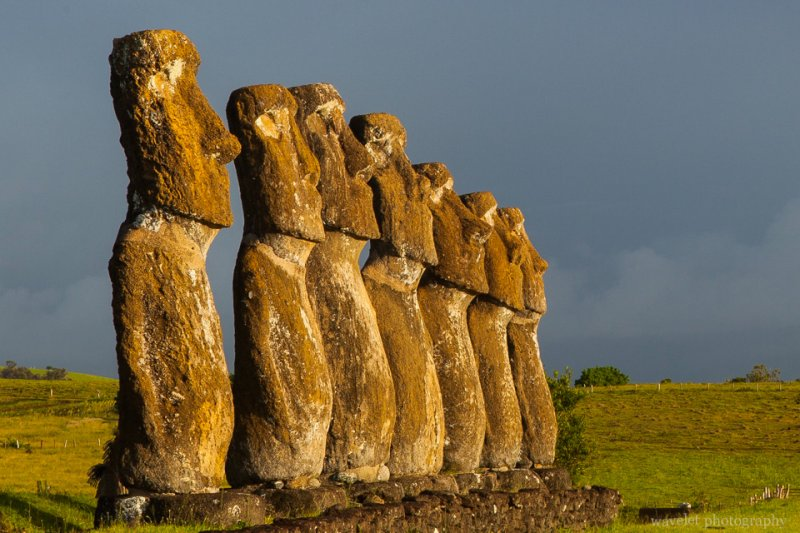 A closer look of Ahu Akivi, Easter Island