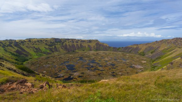 Crater lake of Rano Kau, Easter Island