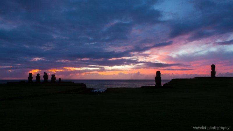 Ahu Tahai at sunset, Easter Island