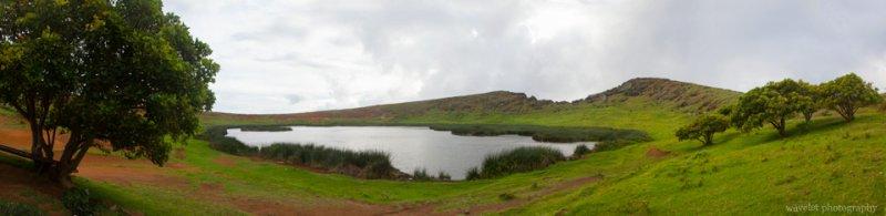 Panorama of Rano Raraku's crater lake, Easter Island