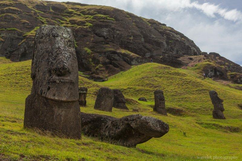 Rano Raraku, the main moai quarry, Easter Island