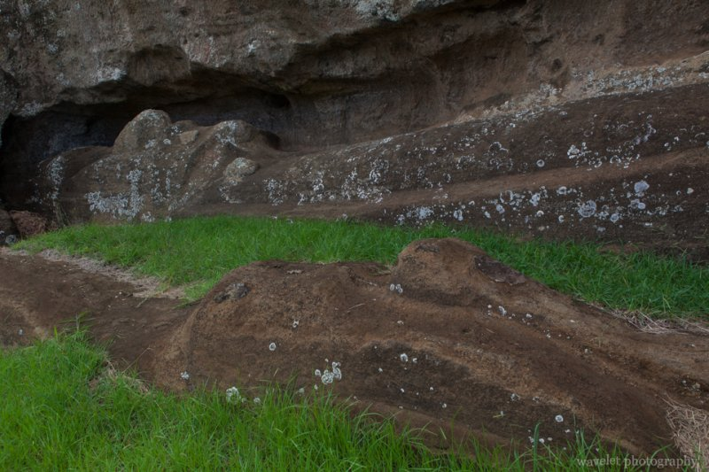 Two large moais carved from the rock, Rano Raraku, Easter Island