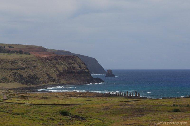 Overlook Ahu Tongariki from Rano Raraku, Easter Island