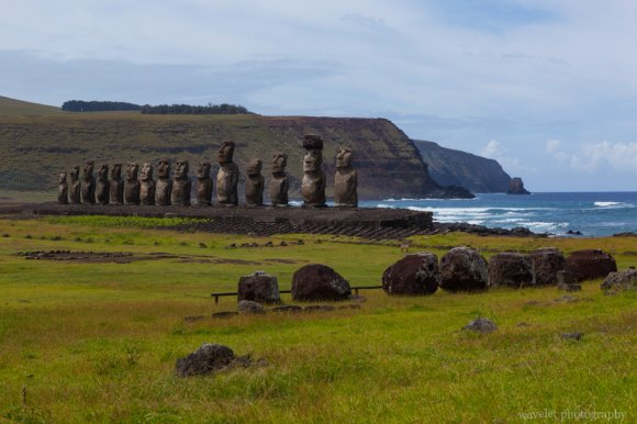 Ahu Tongariki, with their hats in the foreground, Easter Island