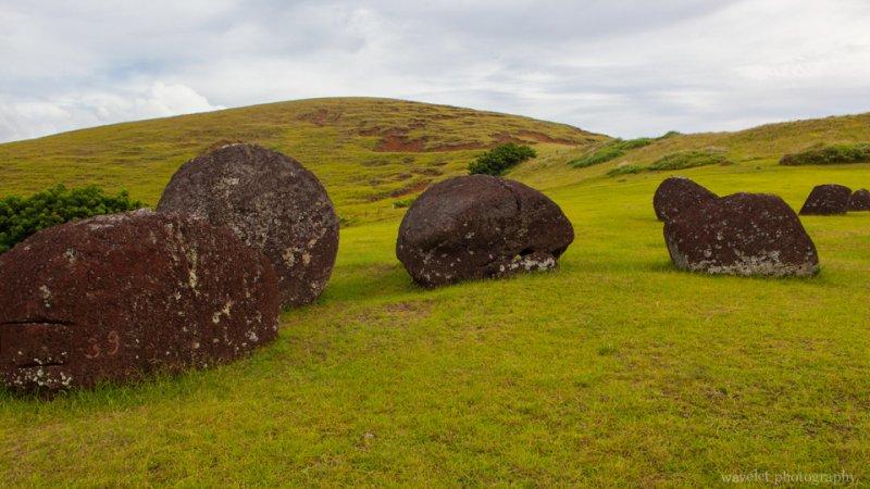 Red scoria, used to carve the pukao (topknots), at Puna Pau, Easter Island