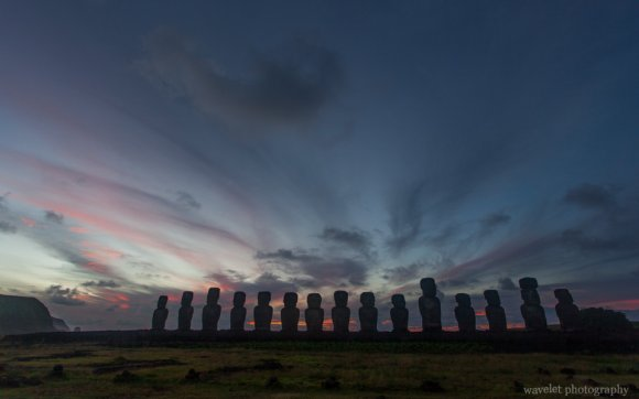 Ahu Tongariki at sunrise, Easter Island