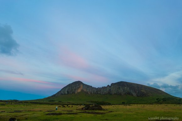 Overlook Rano Raraku from Ahu Tongariki, Easter Island