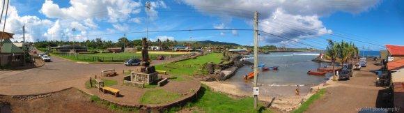 The harbor, Hanga Roa O'tai, and the town, Easter Island