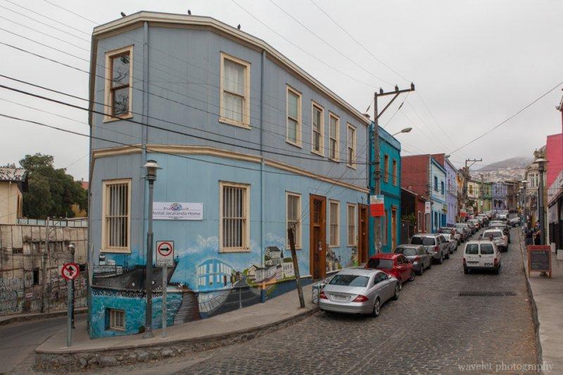 The colorful street at Cerro Concepción area, Valparaiso