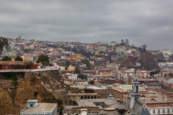 Hilly landscape and colorful houses of Valparaiso