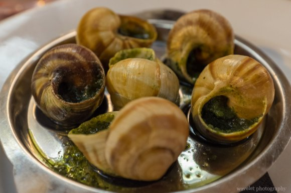 Escargots, snails cooked with pesto, Chez Fernand, Paris