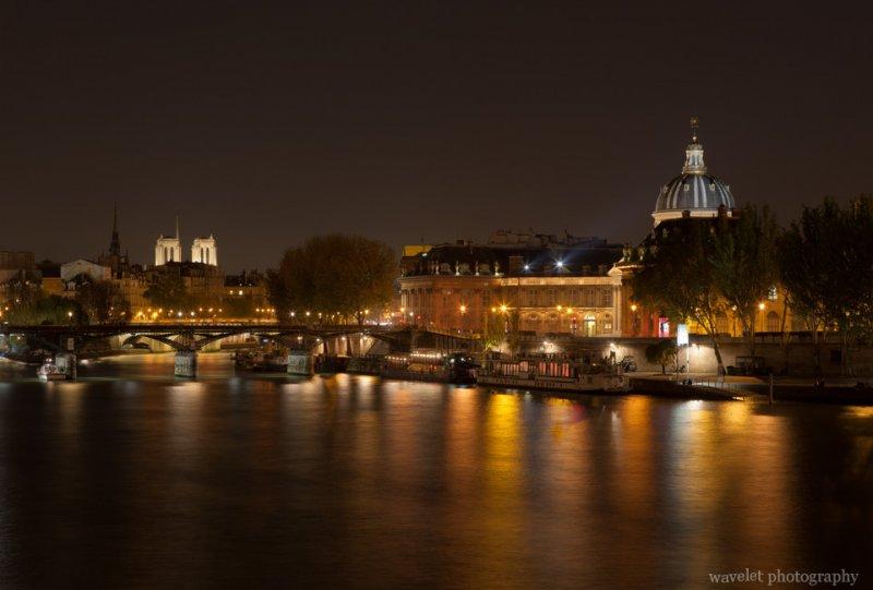 Institut de France and Pont des Arts with Notre-Dame at the background, Paris