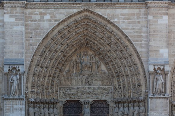 The tympanum of the central portal, the Portal of the Last Judgement, Notre-Dame de Paris