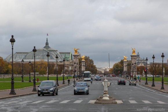Overlook Grand Palais through Pont Alexandre III from Left Bank, Paris
