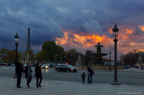 Place de la Concorde at dusk, Paris