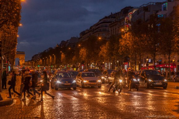 The Champs-Élysées and the Arc de Triomphe at night, Paris