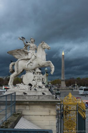 The statue of Renommée riding Pegasus at the west entrance of the Tuileries Garden and the Luxor Obelisk at the Place de la Concorde, Paris