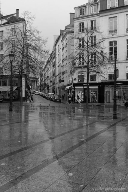 Place Maurice Barrès in the early morning rain, Paris
