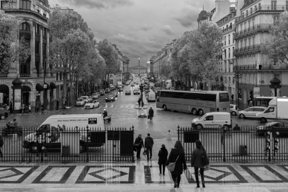 Overlook Place de la Concorde through Rue Royale from L'église de la Madeleine, Paris