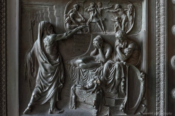 Reliefs on the bronze doors  of the Église de la Madeleine deplicting the Ten Commandments, Paris