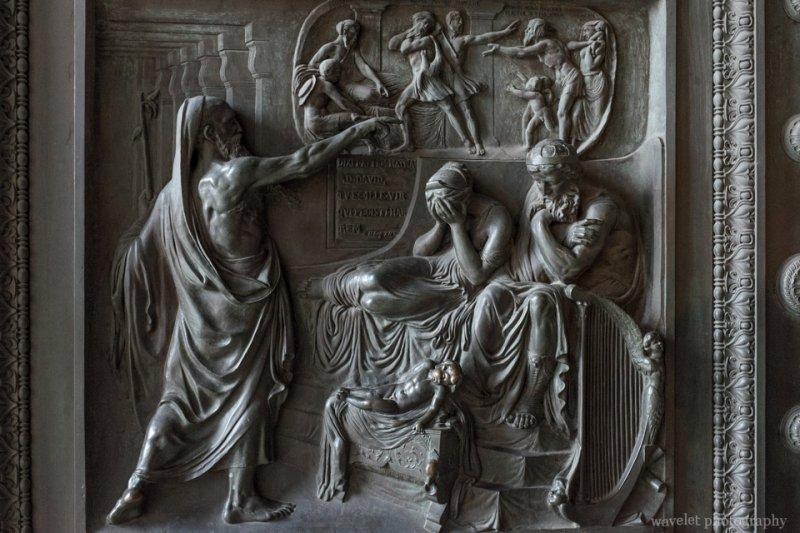 Reliefs on the bronze doors  of the Église de la Madeleine deplicting the Ten Commandments, Paris