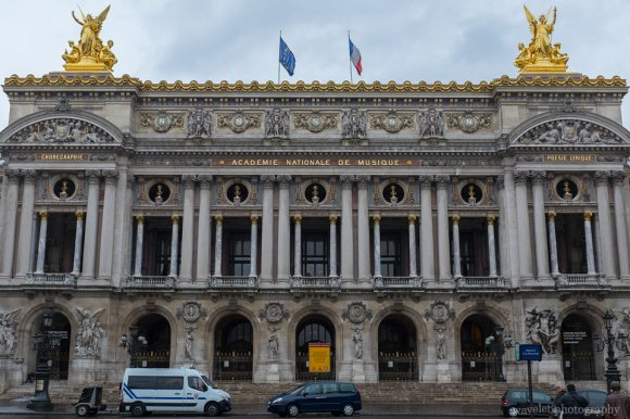 The façade of the Palais Garnier opera house, Paris
