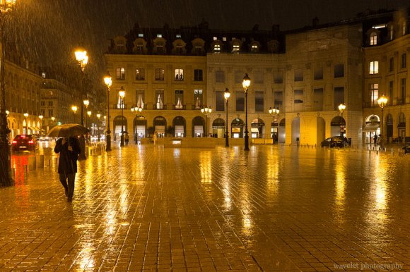 Place Vendôme in the rain, Paris